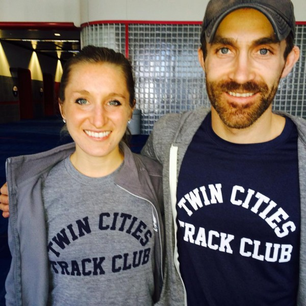Stephanie Price and Reneau at US Half-Marathon Championships sporting their throwback TCTC shirts