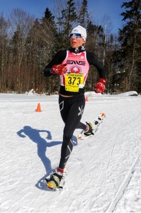Winner of the 2014 Women's Dion USSSA National Championship, Amber Ferreria, sizzles the snow with her fast gait.