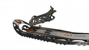 GV Snowshoe's Step-In Tech binding affixed to the Mountain Extreme snowshoes.