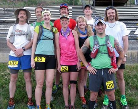 The remaining Gnarly Bandit Ultra series competitors: (front from left) John Taylor, Jessica Pendleton, Tina Johnson, Angela Barbera, Jason Davis; (back from left) Daryl Saari, Matthew Menacher, Ron Hendrickson, Joseph Hegman