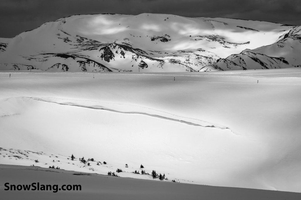 Photo of snow cornice and other skiing terms