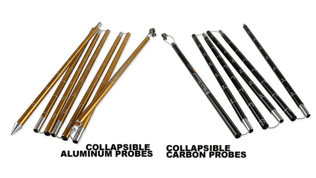 An avalanche probe is usually made of aluminium or carbon. Source: National Avalanche Center