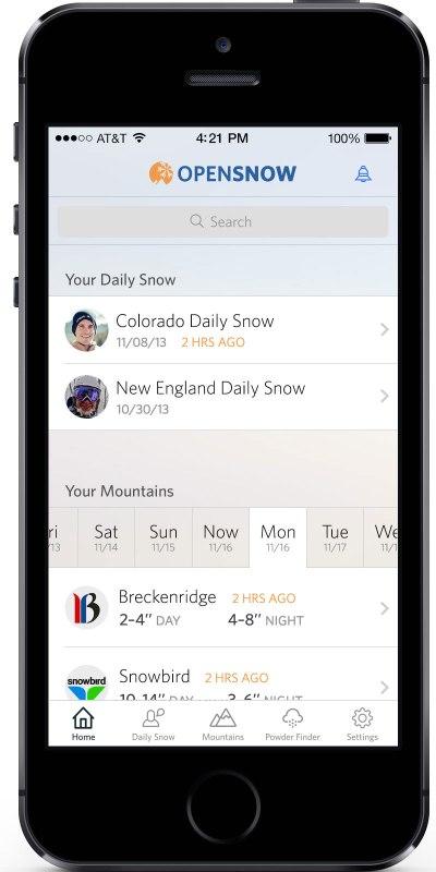 ski apps opensnow app