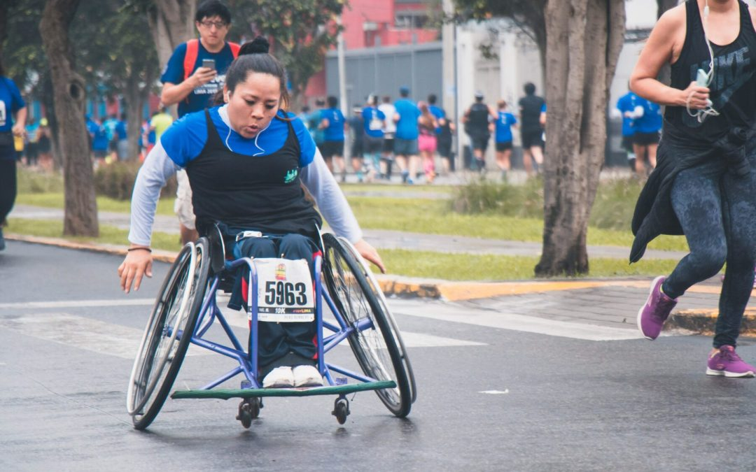 Woman in wheelchair race