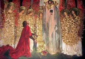 """Galahad and the Dying Amfortas"" by Edwin Austin Abbey"