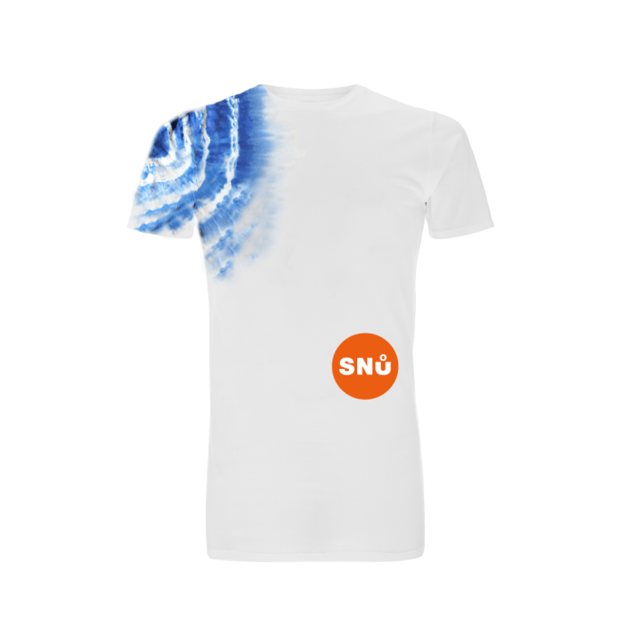 Snu Wear - Blue Tie Dye t-shirt with orange Snu logo