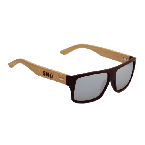 Snu Wear - bamboo sunglasses silver lenses