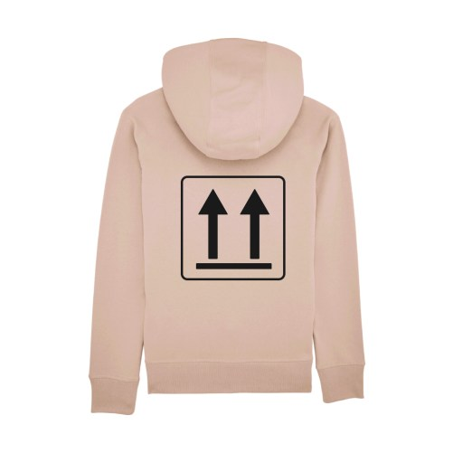 This Way Up Symbol Box Packaging Hoodie Nude by Snu Wear