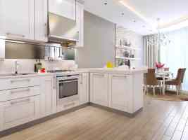 White, clutter free kitchen with clean wooden floors