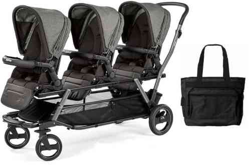 Peg Perego Triplette Piroet Stroller with Pop-Up Seats and Diaper Bag
