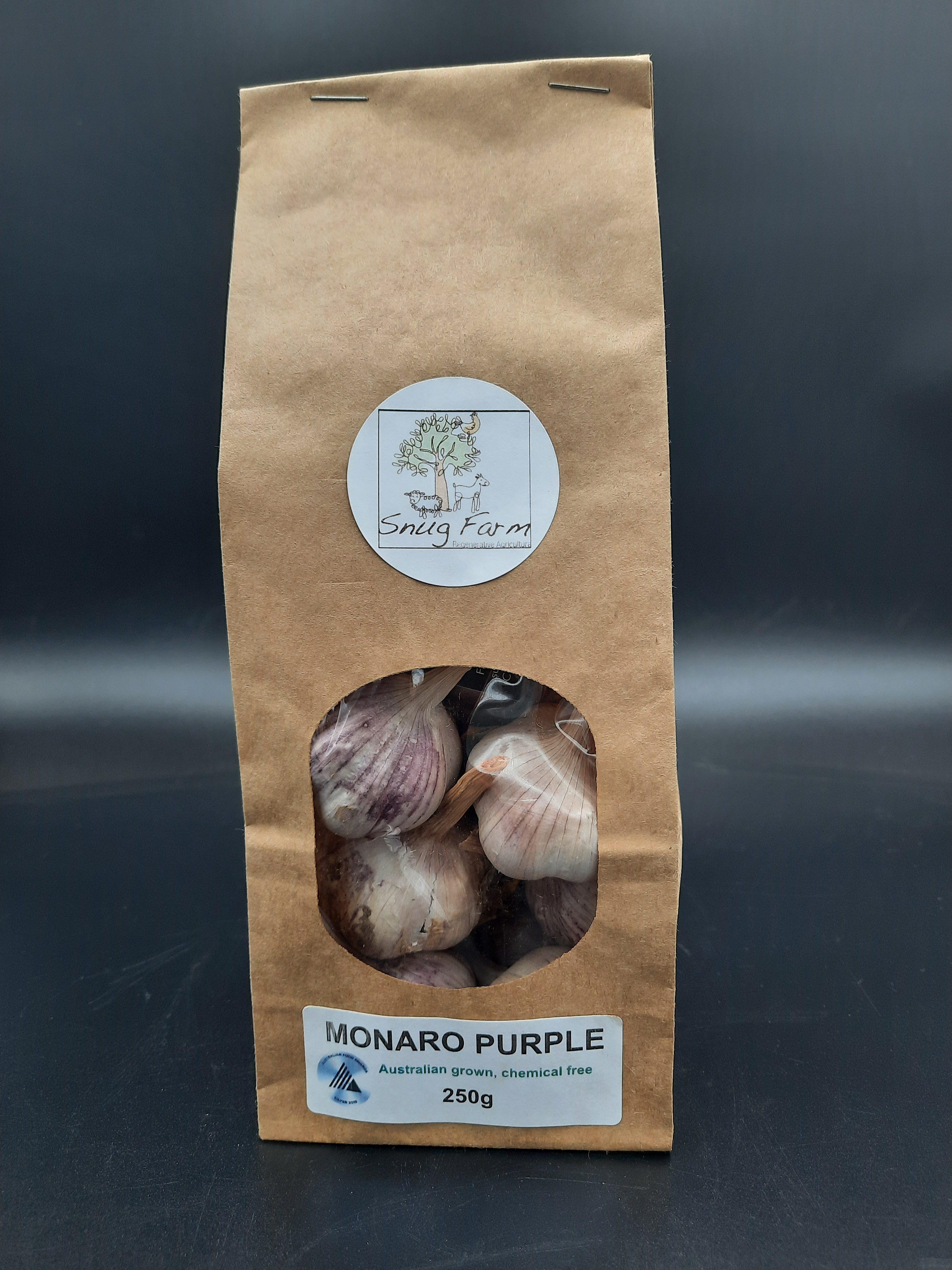250g of chemical free Australian grown Monaro Purple garlic in biodegradable packaging