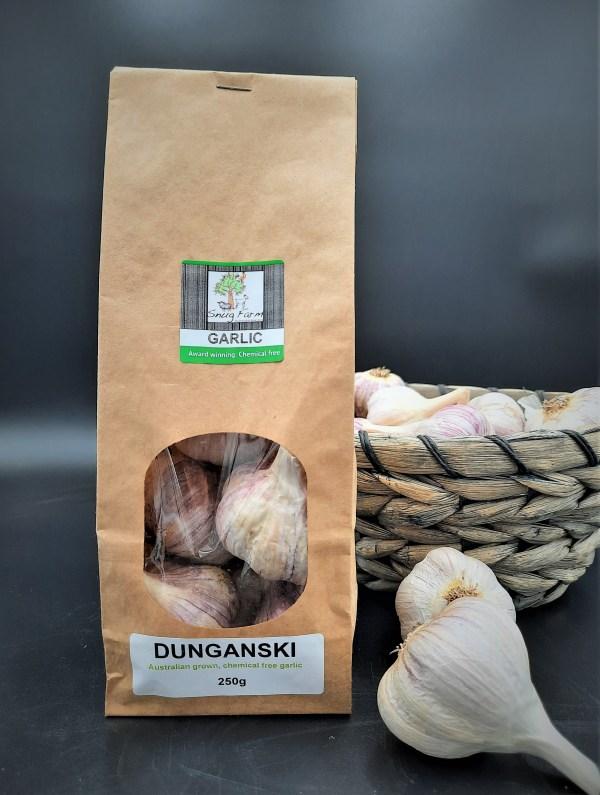 250g of Australian grown, chemical free Dunganski garlic in biodegradable packaging
