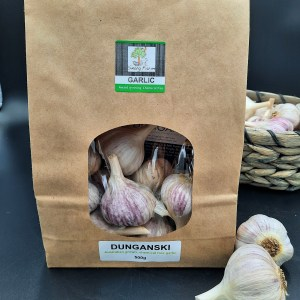 500g of chemical free Australian grown Dunganski garlic in biodegradable packaging
