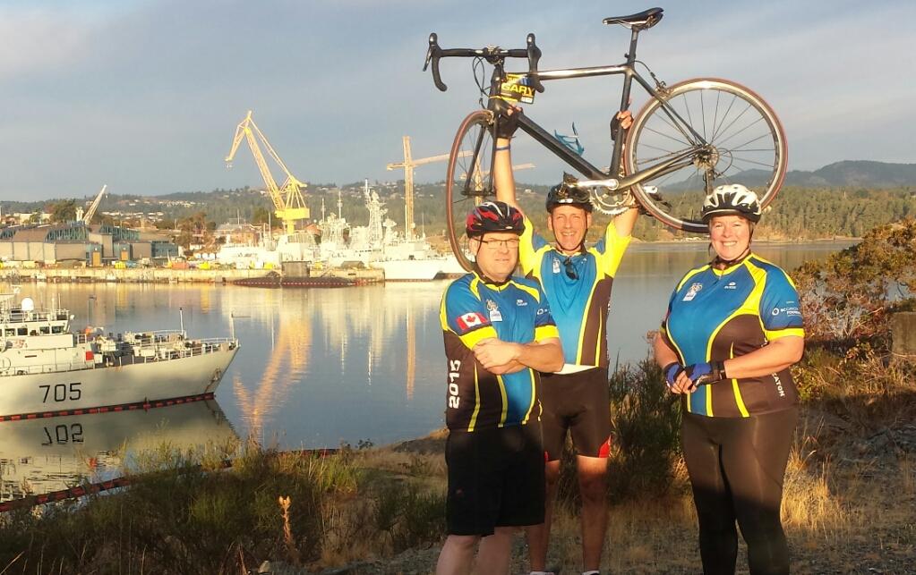 Ride to Conquer Cancer trio in Esquimalt BC 2015