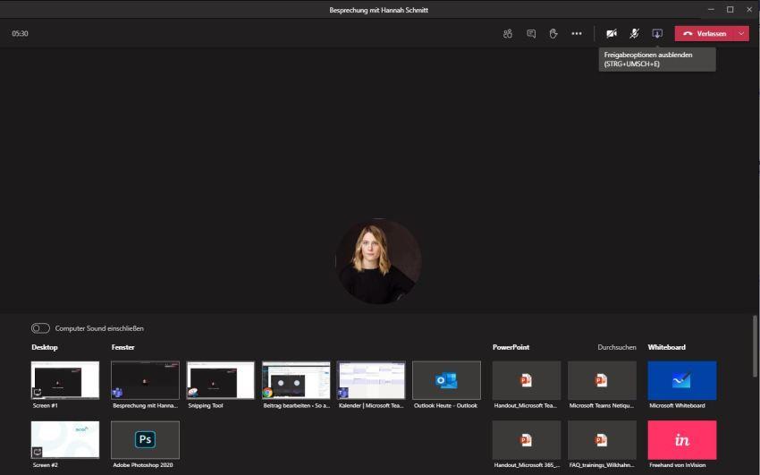 Microsoft Teams Bildschirm teilen
