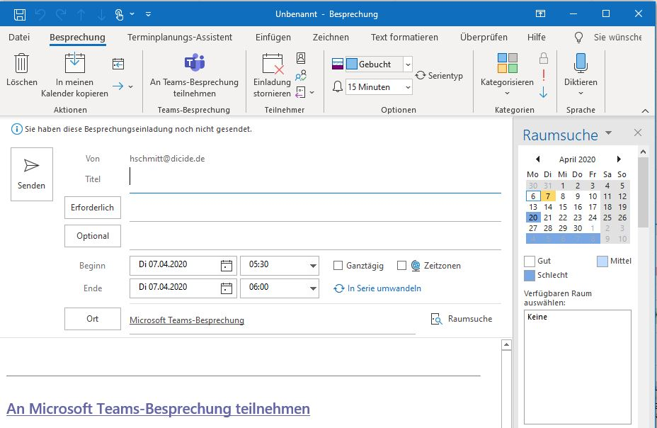 Teams Videokonferenz in Outlook erstellen