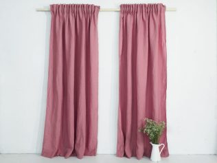 Pink linen curtain panel with pencil pleat gathering tape