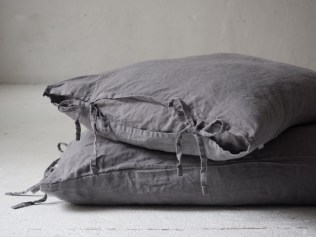 Grey linen pillow cases with ties