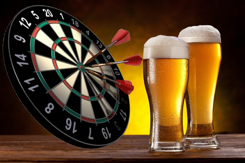 Image result for dart board and beer