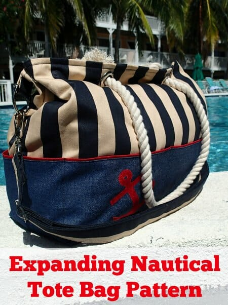 Nautical Expandable Tote Bag - Free Sewing Pattern