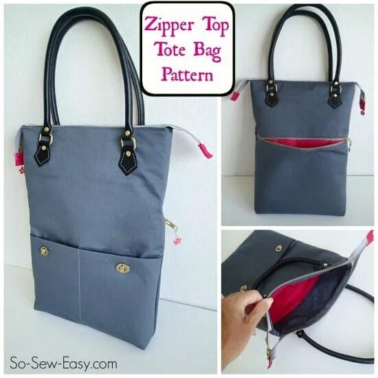 Free pattern: Zipper Top Tote Bag