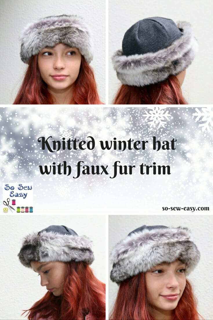 Winter Hat with Faux Fur Cuff - Free Sewing Pattern