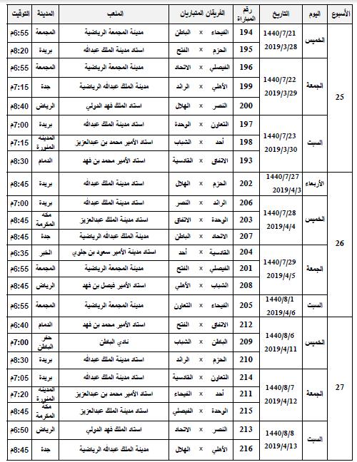 صور ننشر جدول مباريات دوري المحترفين بعد تعديله سعودى سبورت