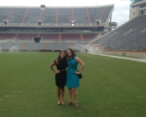 Ashley Jaramillo and Heidi Thuesen at Lane Stadium