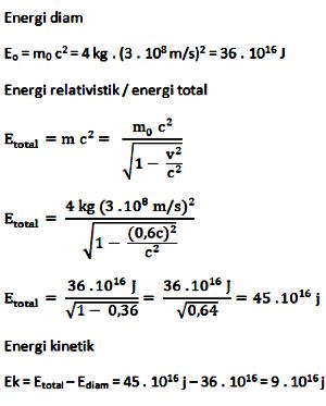 Energi diam, energi relativistik, energi kinetik