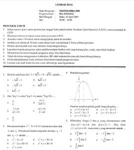 soal ujian nasional sma 2007 matematika