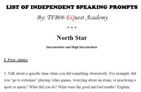 List of Independent Speaking Prompts