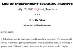 TOEFL IBT: List of Independent Speaking Prompts