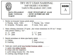 TRY OUT UJIAN NASIONAL SMP 2008
