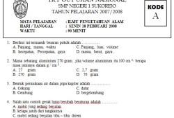 Tryout Ujian Nasional SMP Pelajaran IPA
