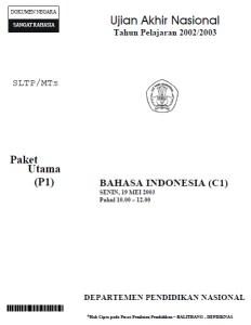 Soal UN Bahasa Indonesia SMP 2003