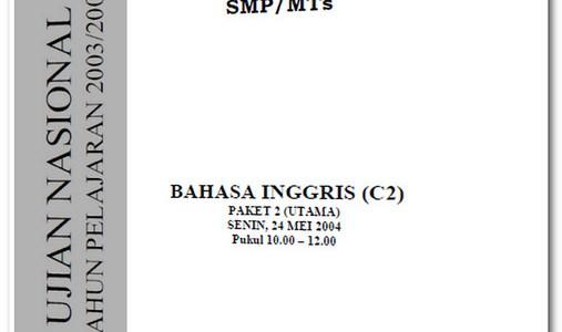 Soal Ujian Nasional UN SMP 2004