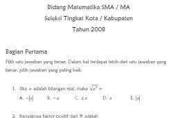 Soal Seleksi Olimpiade Sains Nasional Bidang Matematika SMA 2008 tingkat Kota/Kabupaten