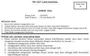 Soal Tryout UN SMA IPS