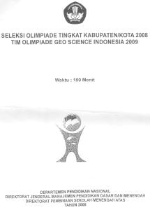 Soal Seleksi Olimpiade Geo-Science SMA Tingkat Kabupaten/Kota 2008