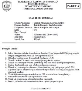 Soal Tryout Ujian Nasional TKJ SMK