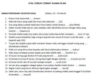 Contoh soal cerdas cermat agama Islam