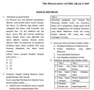 Soal Tes Pendalaman Materi (TPM) SMP Kelas 9