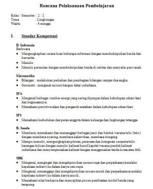 RPP Tematik Kelas 2 SD tema Lingkungan