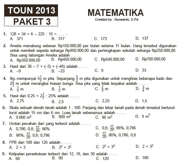 Latihan Soal Un Matematika Smp 2016 15 Paket Soal Latihan Ujian Sekolah Sd Mi Matematika