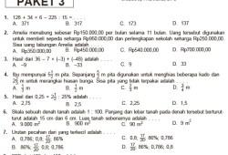 15 Paket Soal Latihan Ujian Sekolah SD/MI Matematika