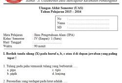 Soal UAS SD Kelas 4 Semester 1
