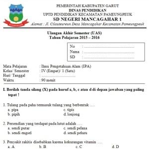 Soal UAS SD Kelas 4 Semester 1 IPA