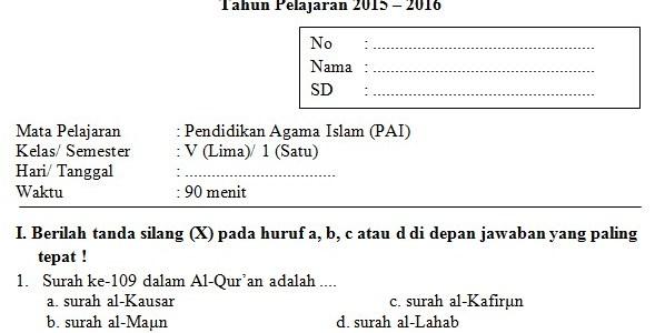 Soal UAS SD Kelas 5 Semester 1