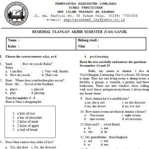 Contoh Soal UAS Bahasa Inggris SMP Kelas 7 Semester 1