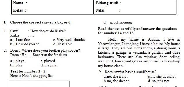 Kumpulan Soal UAS Bahasa Inggris SMP Kelas 7 Semester 1